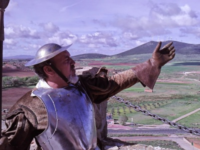 Don Quixote y Sancho Panza en la salida  del Campo de Montiel hacia El Toboso... (2ª Parte de Don Quijote de La Mancha)